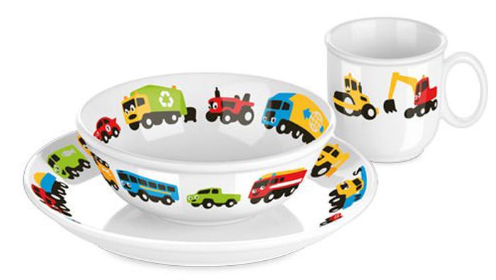 """Набор посуды для детей Tescoma """"Bambini. Машинки"""" выполнен из высококачественного фарфора с детскими мотивами. Рекомендован для детей  от 4 лет. Подходит для микроволновых печей, не рекомендуется мыть в посудомоечной машине. В наборе: чашка, тарелка (диаметр 21 см), глубокая тарелка (диаметр 15 см)."""