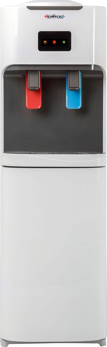 HotFrost V115B кулер для водыV115BКулер для воды HotFrost V115B с холодильником обладает мощной производительностью нагрева до 5,5 литров в час и охлаждения до 2 литров в час.Дополнительная опция - небольшой холодильник в нижней части кулера поможет решить вопрос охлаждения газированных напитков и соков или послужит местом для хранения косметики, кремов, лекарств.Рабочая температура холодильника (около 10-12°C) позволяет эксплуатировать его и в офисах, и на даче для недолгосрочного хранения обедов, бутербродов, молочных продуктов.Сочетание цвета антрацит с демократичным белым создает универсальность использования почти в любом интерьере и поможет подчеркнуть выразительность дизайна помещения.Высота кулера HotFrost V115B в один метр наиболее эргономична для европейских людей среднего роста. При замене бутыли ее не придется поднимать слишком высоко, в то время как и не придется низко наклоняться для налива воды в стакан.Материал бака горячей воды - нержавеющая сталь.Материал бака холодной воды - нержавеющая сталь.Объем бака горячей воды - 1,02 л.Объем бака холодной воды - 3,00 л.