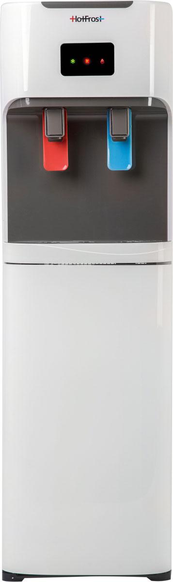HotFrost V115A кулер для водыV115AНаличие горячей и очень холодной воды в кулере HotFrost V115A поддержит питьевой режим в зимние морозы и жарким летом.Удобные краны-пуши - для налива воды достаточно просто нажать чашкой на кран.Нижняя загрузка бутыли защитит воду от прямых солнечных лучей и сохранит ее свежей и полезной. Замена бутыли не потребует больших усилий - достаточно приподнять ее на 3-4 сантиметра и переставить в шкафчик. Спрятанная в шкафчике бутыль не ворвется в дизайн интерьера непрошенным гостем.С кулером HotFrost V115A можно не беспокоиться о микротрещинах бутыли и неплотно прилегающей пробке, которые могут стать причиной течи на кулере с верхней загрузкой.Даже при максимальной нагрузке, во время подкачки воды в баки нагрева и охлаждения, работа насоса не превышает допустимый в дневное время уровень шума в 55 дБ, что очень важно как для микроклимата жилой квартиры или дома, так и для офиса или приемной.Материал бака горячей воды - нержавеющая сталь.Материал бака холодной воды - нержавеющая сталь.Объем бака горячей воды - 1,16 л.Объем бака холодной воды - 3,60 л.