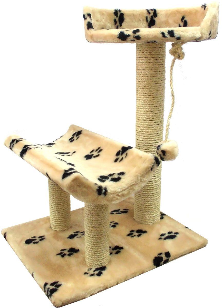 Когтеточка Пушок Кука, цвет: бежевый, черный, 57 х 45 х 80 см коврик вологодский 45 х 80 см в ассорт