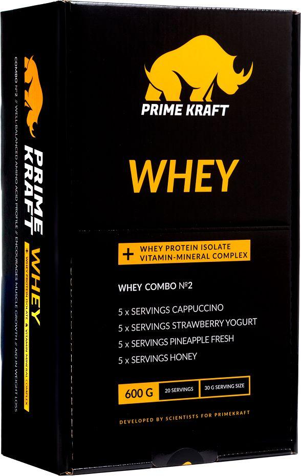 Набор №2 Prime Kraft Whey, коктейль белково-витаминный, 20 пакетиков, 600 г протеин prime kraft whey клубника банан