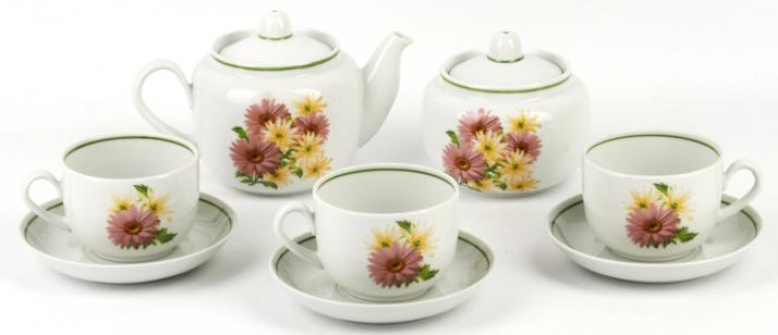 Сервиз чайный Фарфор Вербилок Август. Розовые герберы. 4571660 наборы и сервизы