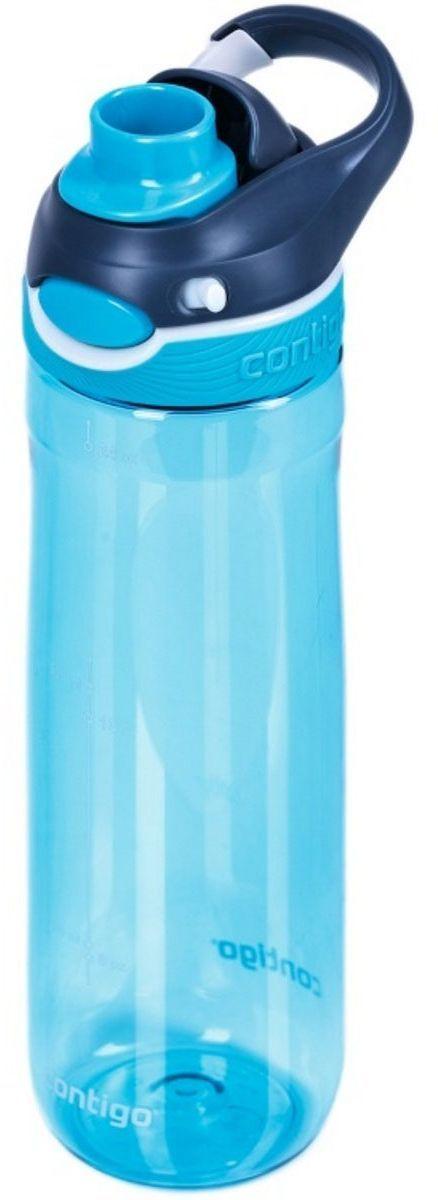 Бутылка для воды Contigo Autospout Chug, цвет: голубой, 720 мл. contigo0763contigo0763Бутылка для воды Contigo Autospout Chug изготовлена из прочного и безопасного пластика Tritan. Конструкция оснащена технологией Autospout для 100% гарантии герметичности. Система блокировки замка предотвращает случайное открытие бутылки, поэтому ценные бумаги и электронные устройства останутся в безопасности. Конструкция подходит для чистки в посудомоечной машине. Бутылка объемом 720 мл. понравится спортсменам и всем ценителям практичности. Бутылка легко открывается одной рукой, что удобно при поездке на велосипеде или автомобиле.