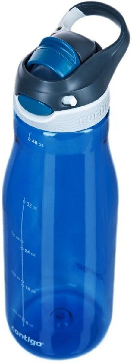 """Бутылка для воды Contigo """"Autospout Chug"""" сделана из прочного пластика синего цвета. Благодаря оригинальной технологии и отсутствию крышки гарантируется 100% защита от случайного протекания жидкости - горлышко для питья выдвигается автоматически при нажатии кнопки """"Autospout"""". Бутылка для воды Contigo """"Autospout Chug"""" объемом 1,2 литра не требует специального ухода и легко очищается в посудомоечной машине. Материалы, используемые при изготовлении продукции Contigo, не содержат аллергенных компонентов, нетоксичны и безвредны для здоровья.Высота: 29 см.Высота без крышки: 25 см.Диаметр: 11 см.Объем: 1,2 л."""