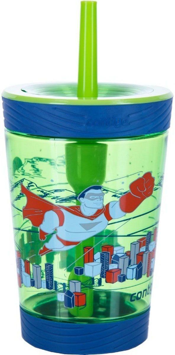 Детский стакан для воды Contigo Spill Proof Tumbler, с трубочкой, 420 мл, цвет: зеленый. contigo0770contigo0770