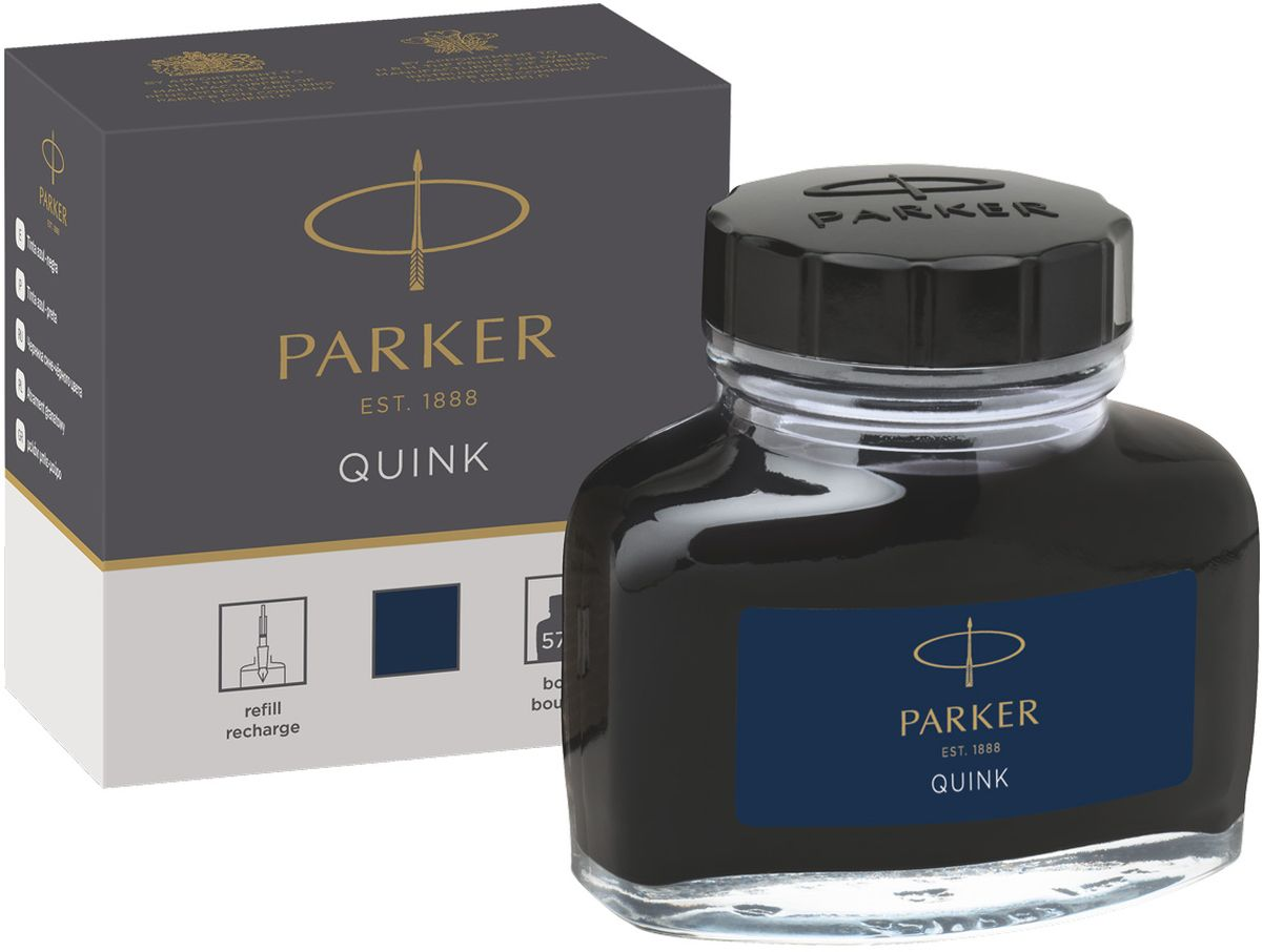 Parker Чернила для перьевых ручек Quink цвет сине-черный конвертер parker functional z12 s0102040 черный чернила