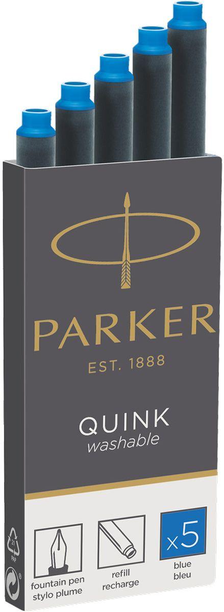 Parker Картридж с чернилами Quink Long для перьевой ручки цвет синий 5 шт 1950383PARKER-1950383Картридж с чернилами для перьевых ручек Parker. Длина картриджа- 75 мм, объем-1,33 мл.Аналог PARKER-S0116210