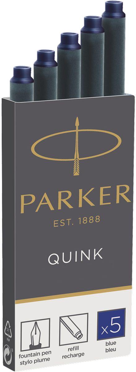 Parker Картридж с чернилами Quink Long для перьевой ручки цвет чернил синий 5 штPARKER-1950384Картридж с чернилами для перьевых ручек Parker. Длина картриджа - 75 мм, объем - 1,33 мл.