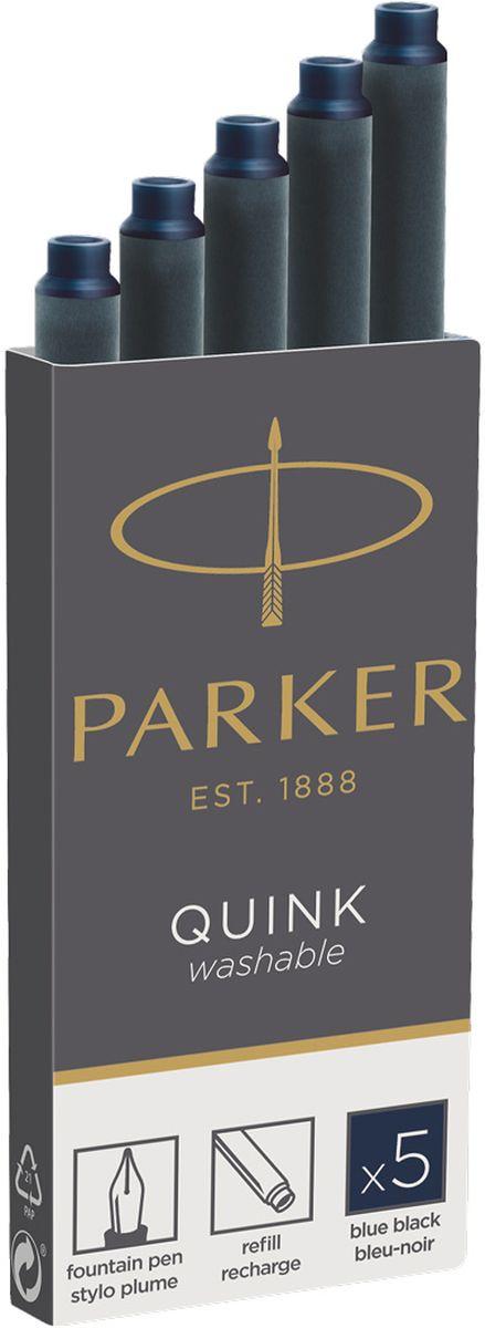 Parker Картридж с чернилами Quink Long для перьевой ручки цвет темно-синий 5 шт картридж для перьевой ручки parker z11 неводостойкие чернила blue 5шт s0116210
