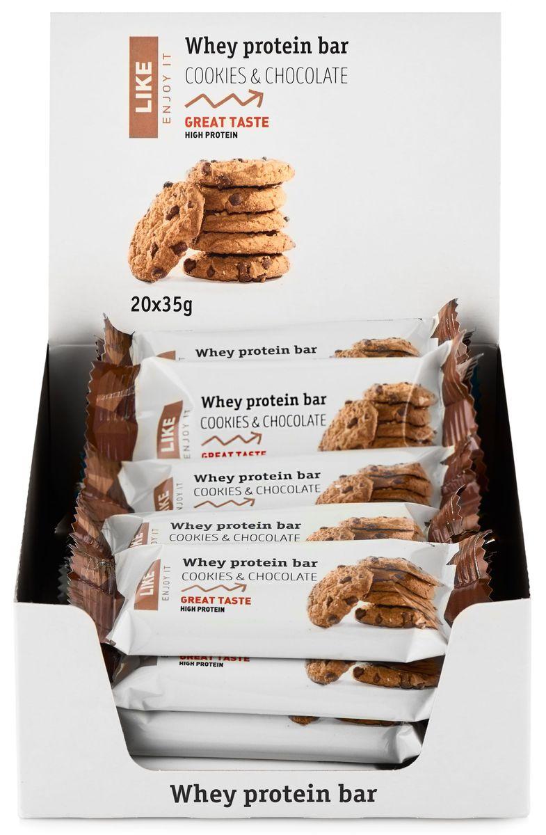 Like Печенье с Шоколадом протеиновый батончик, 20 шт по 35 г bodybar батончик протеиновый 22% со вкусом крем брюле в горьком шоколаде 50 г