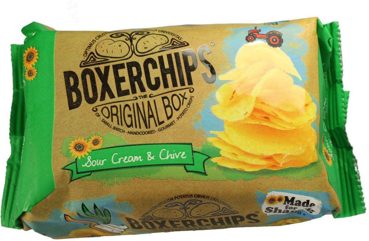 Boxerchips чипсы картофельные со сметаной и луком, 40 г5391517441963Вкуснейшие чипсы ручной работы непосредственно из картофеля в удобной упаковке.