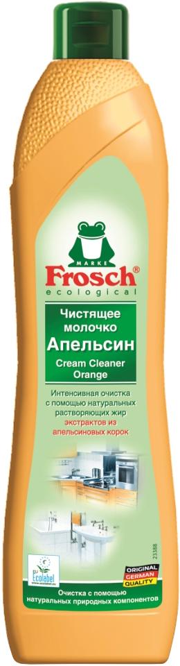 """Чистящее молочко """"Frosch"""" удаляет любые загрязнения, такие как жир, известковый налет и     остатки мыла. Молочко содержит натуральную мраморную пыльцу, которая совершенно не     царапает такие изысканные поверхности, которые не переносят абразива. А также содержит     вещества из апельсиновых корок, которые эффективно растворяют жир. Средство подходит     для очистки керамики, эмали, нержавеющей стали и стеклянных поверхностей, а также     варочных поверхностей электроплит. Не использовать на акриловых поверхностях. Не   предназначено для очистки больших поверхностей. Средство обладает свежим ароматом   апельсина.    Торговая марка Frosch специализируется на выпуске экологически чистой бытовой     химии. Для изготовления своей продукции Frosch  использует натуральные     природные компоненты. Ассортимент содержит все необходимое для бережного ухода за     домом и вещами. Продукция торговой марки Frosch эффективно удаляет     загрязнения, оберегает кожу рук и безопасна для окружающей среды.   Характеристики:     Объем: 500 мл. Производитель:  Германия.   Товар сертифицирован.      Как выбрать качественную бытовую химию, безопасную для природы и людей. Статья OZON Гид"""