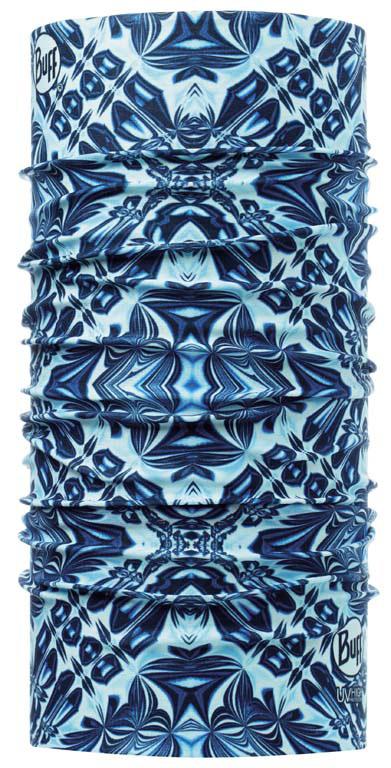 Бандана Buff Active High UV Buff Kaleo, цвет: синий. 108591.00. Размер универсальный108591.00Buff - это оригинальные, мультифункциональные, бесшовные головные уборы - удобные и комфортные для любого вида активного отдыха и спорта. Оригинальные, потому что Buff был и является первым в мире брендом мультифункциональных, бесшовных и универсальных головных уборов. Мультифункциональные, потому что их можно носить самыми разными способами: как шарф, как шапку, как балаклаву, косынку, бандану, маску, напульсник и многими другими - решает ваша фантазия! Универсальный головной убор, который можно носить более чем двенадцатью способами, который можно использовать при занятии любым видом спорта, езде на велосипеде и мотоцикле, катаясь или бегая на лыжах, и даже как аксессуар в городской одежде. Бесшовные, благодаря эластичности, позволяющей использовать эти головные уборы как угодно и не беспокоиться о том, что кожа может быть натерта или раздражена швами. Размер (обхват головы): 53-62 см.