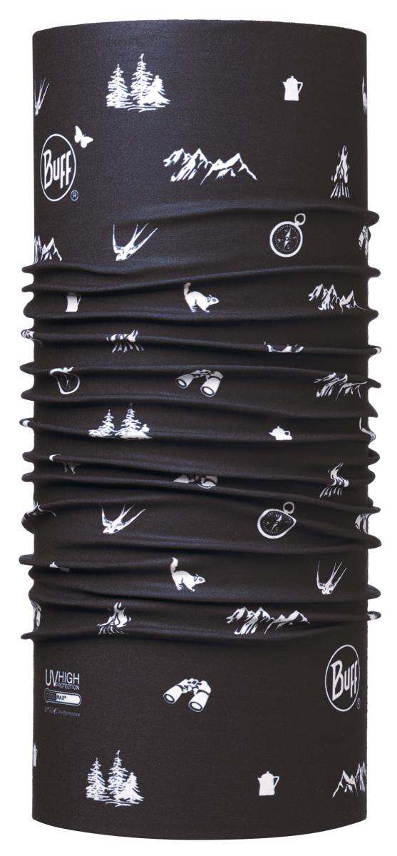 Бандана Buff High UV Campfire Dark Navy, цвет: черный. 113612.790.10.00. Размер универсальный113612.790.10.00Buff - это оригинальные, мультифункциональные, бесшовные головные уборы - удобные и комфортные для любого вида активного отдыха и спорта. Оригинальные, потому что Buff был и является первым в мире брендом мультифункциональных, бесшовных и универсальных головных уборов. Мультифункциональные, потому что их можно носить самыми разными способами: как шарф, как шапку, как балаклаву, косынку, бандану, маску, напульсник и многими другими - решает Ваша фантазия! Универсальный головной убор, который можно носить более чем двенадцатью способами, который можно использовать при занятии любым видом спорта, езде на велосипеде и мотоцикле, катаясь или бегая на лыжах, и даже как аксессуар в городской одежде. Бесшовные, благодаря эластичности, позволяющей использовать эти головные уборы как угодно и не беспокоиться о том, что кожа может быть натерта или раздражена швами.