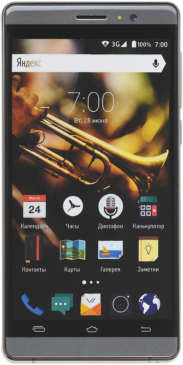 Vertex Impress Jazz, Black SilverJZZBLK-GRPVertex Impress Jazz -функциональный смартфон с ярким экраном и закругленным стеклом.Смартфон оснащен ярким IPS экран размером 5 дюймов с разрешением qHD, что позволяет максимально комфортно использовать возможности смартфона: снимать и просматривать фото и видео, смотреть фильмы, играть в игры, запускать приложения, читать книги, пользоваться навигатором и картами и многое другое. Экран защищен 2.5D стеклом, которое имеет закругленные края. Это позволяет более комфортно использовать сенсорный экран без опаски порезаться об острые углы. Благодаря сглаженным краям экрана смартфон выглядит эстетично и максимально приятен на ощупь.Благодаря 4-х ядерному процессору модель Impress Jazz легко справляется с работой в режиме многозадачности, что обеспечивает качественную работу операционной системы и установленных приложений. С возможностью расширения встроенной памяти при помощи карты microSD развлечения и работа становятся комфортнее: игры, книги, рабочие программы в вашем смартфоне.Операционная система Android 5.1 Lollipopи сервис Google Play предлагает огромный выбор приложений! Игры, музыка, социальные сети, навигационные карты, фото приложения и многое другое – все в вашем смартфоне. Высокоскоростной 3G мобильный Интернет поддерживает мгновенную загрузку данных. Интернет-серфинг еще удобнее!Две камеры для повседневных снимков: основная 5 Мп со вспышкой и автофокусом, и фронтальная 2 Мп.Для того, чтобы вы смогли всегда оставаться на связи модель Impress Jazz поддерживает работу двух SIM-карт, активных в режиме ожидания. Благодаря этому можно использовать возможности сразу двух операторов связи так, как удобно вам.Телефон сертифицирован EAC и имеет русифицированный интерфейс меню и Руководство пользователя.