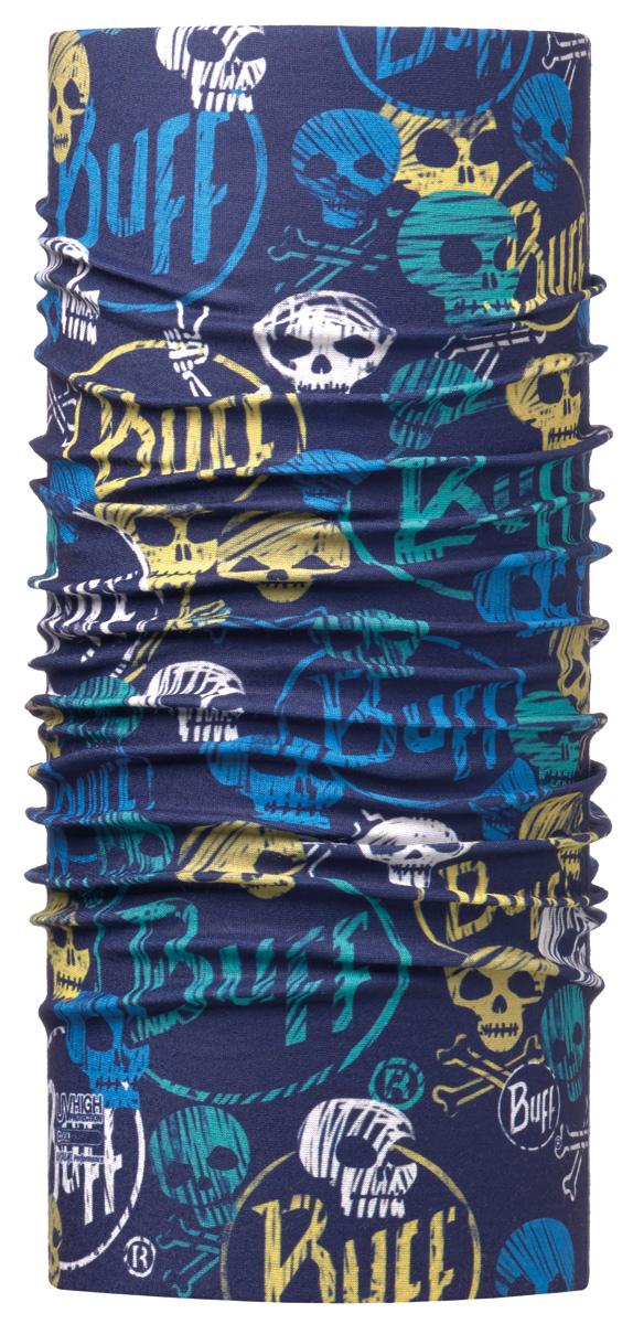 Бандана Buff High UV Funny Skulls Dark Navy, цвет: синий. 115082.790.10.00. Размер универсальный115082.790.10.00Buff - это оригинальные, мультифункциональные, бесшовные головные уборы - удобные и комфортные для любого вида активного отдыха и спорта. Оригинальные, потому что Buff был и является первым в мире брендом мультифункциональных, бесшовных и универсальных головных уборов. Мультифункциональные, потому что их можно носить самыми разными способами: как шарф, как шапку, как балаклаву, косынку, бандану, маску, напульсник и многими другими - решает Ваша фантазия! Универсальный головной убор, который можно носить более чем двенадцатью способами, который можно использовать при занятии любым видом спорта, езде на велосипеде и мотоцикле, катаясь или бегая на лыжах, и даже как аксессуар в городской одежде. Бесшовные, благодаря эластичности, позволяющей использовать эти головные уборы как угодно и не беспокоиться о том, что кожа может быть натерта или раздражена швами.