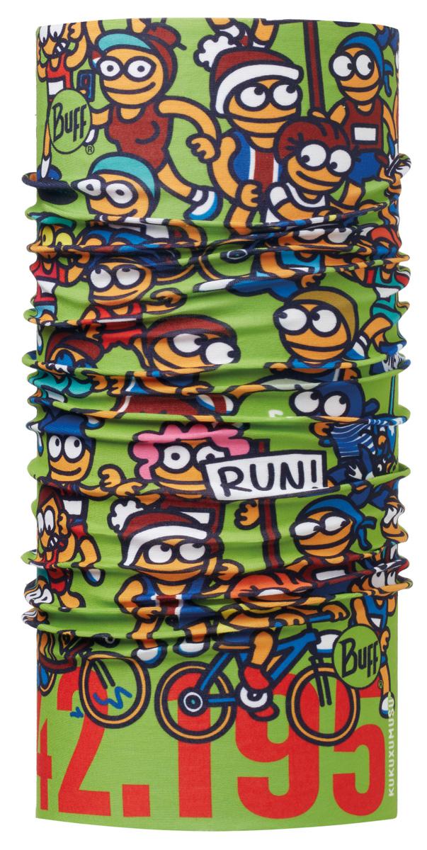 Бандана Buff Kukuxumusu Original Buff Maraton Green, цвет: зеленый. 113142.845.10.00. Размер универсальный113142.845.10.00Buff - это оригинальные, мультифункциональные, бесшовные головные уборы - удобные и комфортные для любого вида активного отдыха и спорта. Оригинальные, потому что Buff был и является первым в мире брендом мультифункциональных, бесшовных и универсальных головных уборов. Мультифункциональные, потому что их можно носить самыми разными способами: как шарф, как шапку, как балаклаву, косынку, бандану, маску, напульсник и многими другими - решает Ваша фантазия! Универсальный головной убор, который можно носить более чем двенадцатью способами, который можно использовать при занятии любым видом спорта, езде на велосипеде и мотоцикле, катаясь или бегая на лыжах, и даже как аксессуар в городской одежде. Бесшовные, благодаря эластичности, позволяющей использовать эти головные уборы как угодно и не беспокоиться о том, что кожа может быть натерта или раздражена швами.