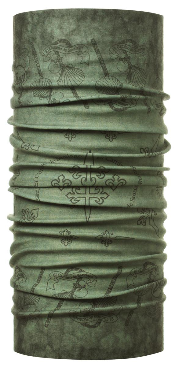 Бандана Buff Merchandise Collection High UV Buff Xacobeo, цвет: хаки. 108486.00. Размер универсальный108486.00Buff - это оригинальные, мультифункциональные, бесшовные головные уборы - удобные и комфортные для любого вида активного отдыха и спорта. Оригинальные, потому что Buff был и является первым в мире брендом мультифункциональных, бесшовных и универсальных головных уборов. Мультифункциональные, потому что их можно носить самыми разными способами: как шарф, как шапку, как балаклаву, косынку, бандану, маску, напульсник и многими другими - решает ваша фантазия! Универсальный головной убор, который можно носить более чем двенадцатью способами, который можно использовать при занятии любым видом спорта, езде на велосипеде и мотоцикле, катаясь или бегая на лыжах, и даже как аксессуар в городской одежде. Бесшовные, благодаря эластичности, позволяющей использовать эти головные уборы как угодно и не беспокоиться о том, что кожа может быть натерта или раздражена швами. Размер (обхват головы): 53-62 см.