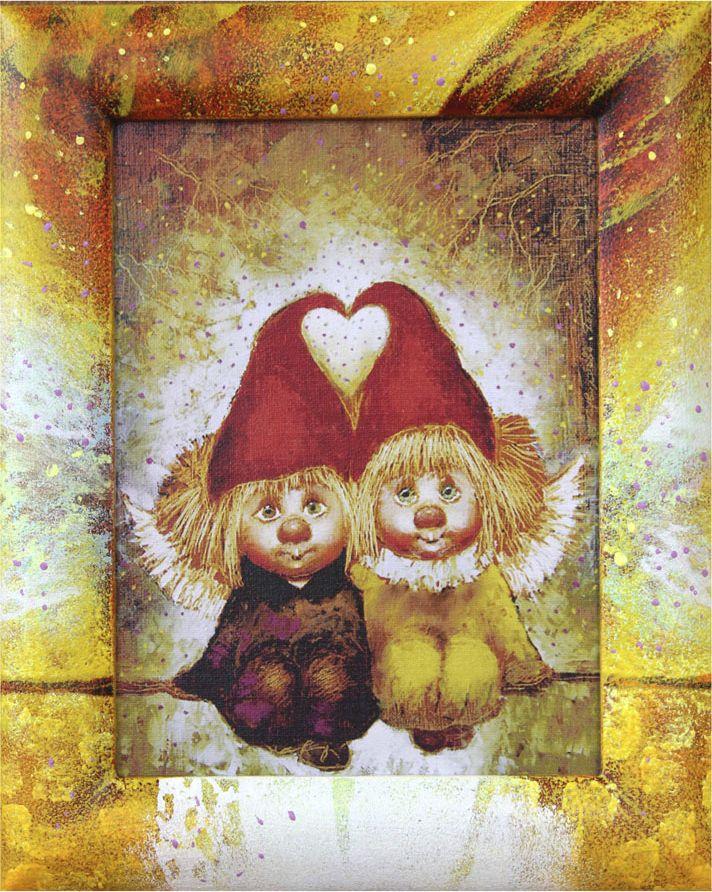 Жикле на холсте Artangels Ангелы вечной любви в расписном багете, 18 х 24 см. Автор Галина Чувиляева. 40564056Жикле размером 18 х 24 см в деревянном расписном багете Ангелы вечной любви.Авторское жикле в расписанной вручную раме. Современный мир насчитывает огромное количество изображений искусства, каждое из которых создается по своей технике. Например, жикле – это художественная печать на холсте и бумаге. Это современный вид искусства, который включает в себя использование разнообразных принтеров для репродукции картин в самом высочайшем качестве. К преимуществам использования данного вида искусства относят следующие показатели – долговечность полученного изображения, высочайшее качество отображения. Жикле – это французское слово, которое как раз и означает распыление, чтобы создать высококачественный шедевр, необходимо задействовать специальные принтеры. А в качестве материалов, которые необходимы для печати, используют специализированные холсты на основе хлопка или льна, помимо этого задействуются следующие материалы – высококачественные составы красок, акварельная бумага и другие характерные для этого вида искусства специализированные материалы. Безусловно, сейчас существует большое количество других способов цветопередачи, однако именно жикле обеспечивает максимальное качество, долговечность.