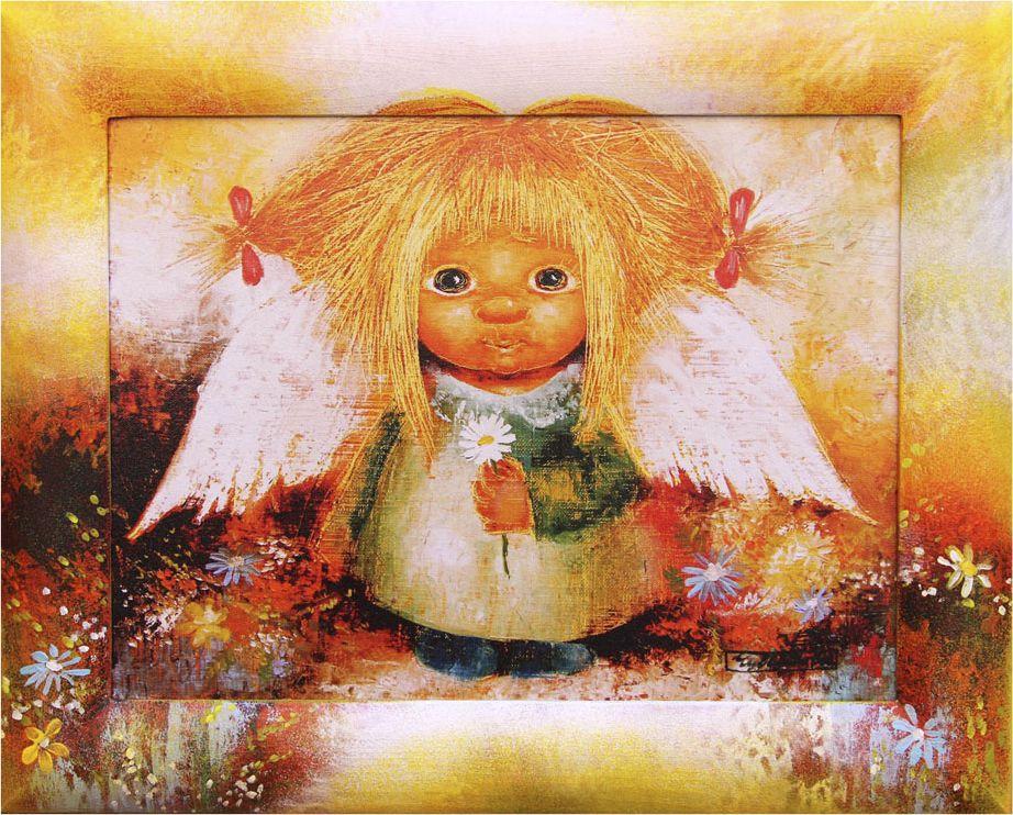 Жикле на холсте Artangels Ангел понимания в расписном багете, 30 х 40 см. Автор Люся Чувиляева. 60266026Жикле размером 30 х 40 см в деревянном расписном багете Ангел понимания.Авторское жикле в расписанной вручную раме. Современный мир насчитывает огромное количество изображений искусства, каждое из которых создается по своей технике. Например, жикле – это художественная печать на холсте и бумаге. Это современный вид искусства, который включает в себя использование разнообразных принтеров для репродукции картин в самом высочайшем качестве. К преимуществам использования данного вида искусства относят следующие показатели – долговечность полученного изображения, высочайшее качество отображения. Жикле – это французское слово, которое как раз и означает распыление, чтобы создать высококачественный шедевр, необходимо задействовать специальные принтеры. А в качестве материалов, которые необходимы для печати, используют специализированные холсты на основе хлопка или льна, помимо этого задействуются следующие материалы – высококачественные составы красок, акварельная бумага и другие характерные для этого вида искусства специализированные материалы. Безусловно, сейчас существует большое количество других способов цветопередачи, однако именно жикле обеспечивает максимальное качество, долговечность.