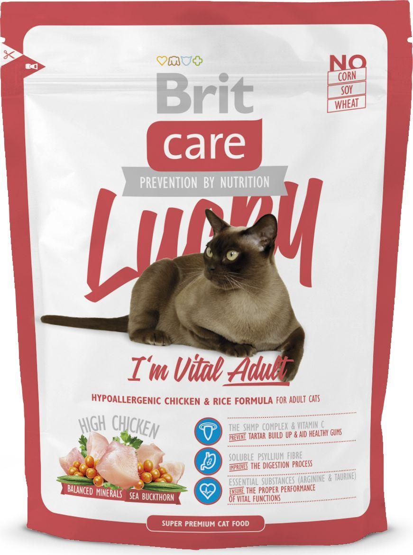 Корм сухой Brit Care Cat Lucky Vital Adult, для взрослых кошек, 400 г. 132605132605Гипоаллергенный корм супер-премиум класса, не содержит пшеницы, кукурузы. Для кошек всех возрастов, разного образа жизни, с учетом особенностей (кастраты, привередливые, с чувствительным пищеварением и т.д.). Высокое (>50%) содержание мясных ингредиентов. Высокое содержание мясаСбалансированный минеральный составОблепиха крушиновиднаяГипоаллергенный составВитамин С и гексаметафосфат натрия22% дегидрированной курицы20% куриного филе6% дегидрированной индейки-Витамин С и гексаметафосфат натрия предотвращают образование зубного камня-Волокна подорожника улучшают процесс пищеварения-Аргинин и таурин обеспечивают функционирование жизненно важных систем Состав: дегидрированная курица (22%), рис, куриное филе (20%), рисовые отруби, дегидрированная индейка (6%), куриный жир (консервирован токоферолами), сушеные яблоки, куриная печень (2%), лососевое масло, пивные дрожжи, подорожник (200 мг/кг), маннан-олигосахариды (155 мг/кг), фрукто-олигосахариды (125 мг/кг), экстракт юкки Шидигера (Yucca schidigera) (85 мг/кг), облепиха крушиновидная (50 мг/кг).Гарантированный анализ: сырой белок 35%, сырой жир 16%, сырая клетчатка 3,0%, сырая зола 5,5%, влага 10%, кальций 1,3%, фосфор 1,0%, натрий 0,2%, магний 0,09%.Питательные добавки на 1 кг: витамин A (E672) 22 500 МЕ, витамин D3 (E671) 900 МЕ, витамин E (3a700) 650 мг, витамин C (E300) 300 мг, таурин 2 300 мг, холина хлорид 2 100 мг, L-карнитин 65 мг, ниацин 40 мг, биотин 1,8 мг, цинк (E6) 150 мг, марганец (E5) 56 мг, железо (E1) 47 мг, медь (E4) 11 мг, йод (E2) 3,7 мг, селен (E8) 0,23 мг, DL-метионин (3.1.1.) 13 мг, аргинин (3c3.6.1) 11 мг, L-лизин (3.2.3.) 9 мг, натрия гексаметафосфат (E452i) 710 мг. омега-3: 0,32%, омега-6: 2,2%.Энергетическая ценность: 4 000 ккал/кг.