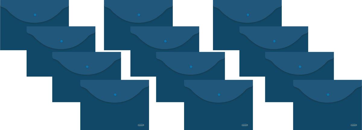 Папка-конверт на кнопке Centrum, цвет: синий, прозрачный. Формат А4, 12 шт80024Папка-конверт на кнопке Centrum - это удобный и функциональный офисный инструмент, предназначенный для хранения и транспортировки рабочих бумаг и документов формата А4. Папка изготовлена из полупрозрачного пластика, закрывается клапаном на кнопке. В комплект входят 12 папок разных цветов формата A4. Папка-конверт - это незаменимый атрибут для студента, школьника, офисного работника. Такая папка надежно сохранит ваши документы и сбережет их от повреждений, пыли и влаги.