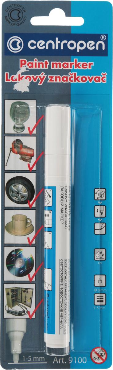 Centropen Маркер лаковый цвет белый9100Лаковый маркер Centropen подходит для стекла, металла, пластика, CD и DVD. Перед использованием хорошенько встряхните и несколько раз надавите на наконечник до тех пор, пока он не наполнится краской. Если след письма начнет ослабевать, кратко нажмите на наконечник для дополнительного наполнения.После использования закройте. Смывается спиртом с непористых материалов. Маркер имеет светостойкие и водостойкие чернила.
