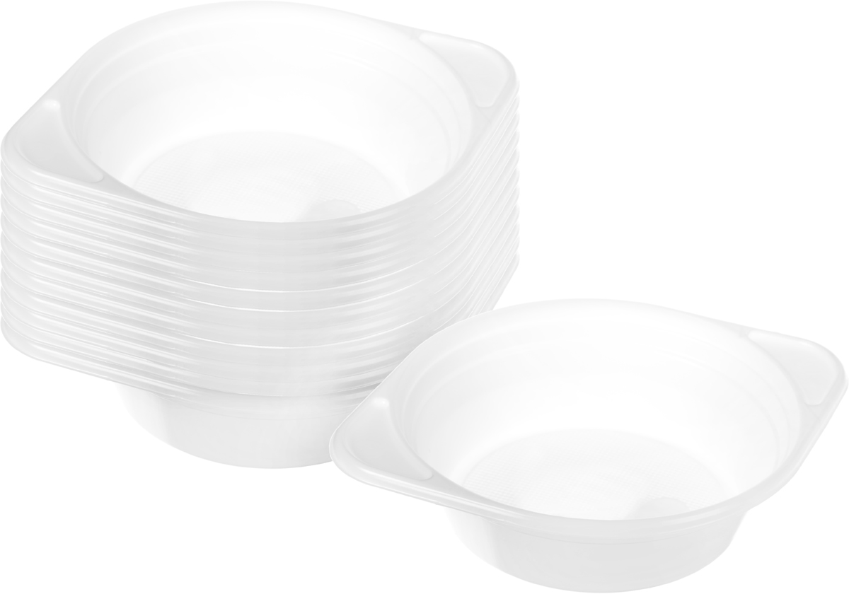 Набор пластиковых мисок для супа Celesta Festival, цвет: белый, 500 мл, 12 шт4806Набор Celesta Festival состоит из 12 глубоких мисок, которые изготовлены из полистирола. Они невероятно удобные и легкие, что позволяет брать их в дорогу. Эти миски можно использовать как для холодных, так и для горячих блюд (до +75°С). Объем миски: 500 мл. Диаметр: 14 см.Высота стенки: 4,5 см.