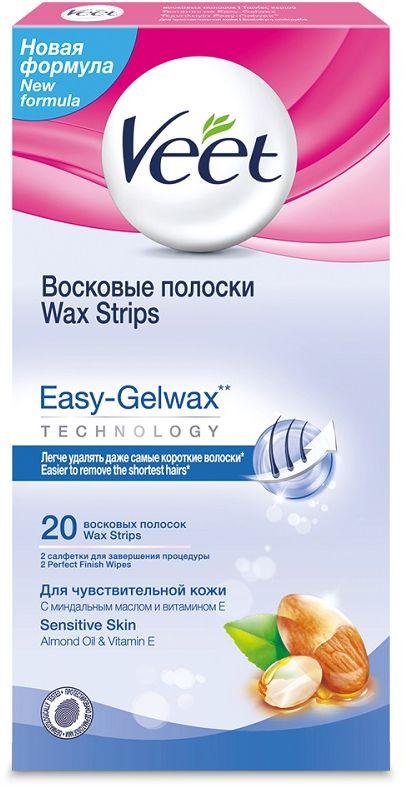 Veet Воск полоски для чувствительной кожи c технологией Easy Gel-Wax, 20 шт