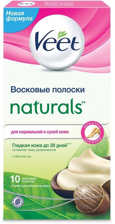 Veet Восковые полоски Naturals с маслом ши серии c технологией Easy Gel-Wax, 10 шт