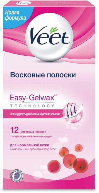 Veet Восковые полоски для нормальной кожи c технологией Easy Gel-Wax, 12 шт - Женские средства для депиляции и бритья