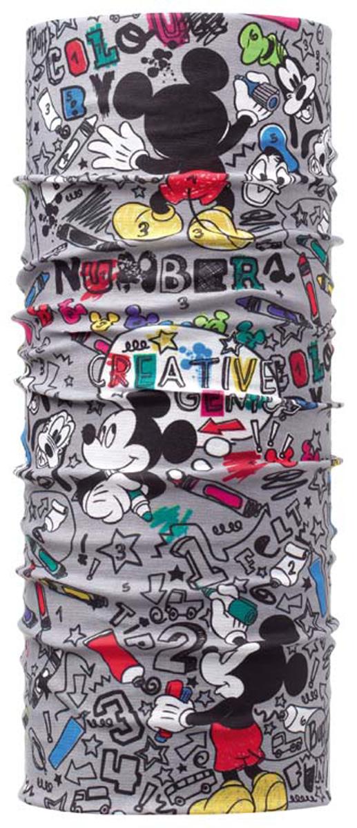 Бандана Buff Original Mickey Child Numru, цвет: серый. 107964.00. Размер универсальный107964.00Buff - это оригинальные, мультифункциональные, бесшовные головные уборы - удобные и комфортные для любого вида активного отдыха и спорта. Оригинальные, потому что Buff был и является первым в мире брендом мультифункциональных, бесшовных и универсальных головных уборов. Мультифункциональные, потому что их можно носить самыми разными способами: как шарф, как шапку, как балаклаву, косынку, бандану, маску, напульсник и многими другими - решает Ваша фантазия! Универсальный головной убор, который можно носить более чем двенадцатью способами, который можно использовать при занятии любым видом спорта, езде на велосипеде и мотоцикле, катаясь или бегая на лыжах, и даже как аксессуар в городской одежде. Бесшовные, благодаря эластичности, позволяющей использовать эти головные уборы как угодно и не беспокоиться о том, что кожа может быть натерта или раздражена швами. Размер (обхват головы): 50-55 см.