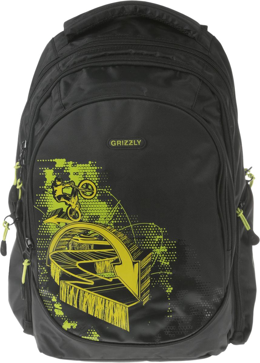Рюкзак городской мужской Grizzly, цвет: черный, 15,7 л. RU-712-2RU-712-2Рюкзак молодежный, три отделения, объемные боковые карманы на молнии, внутренний карман, внутренний подвесной карман на молнии, внутренний составной пенал-органайзер, жесткая анатомическая спинка, мягкая укрепленная ручка, укрепленные лямки