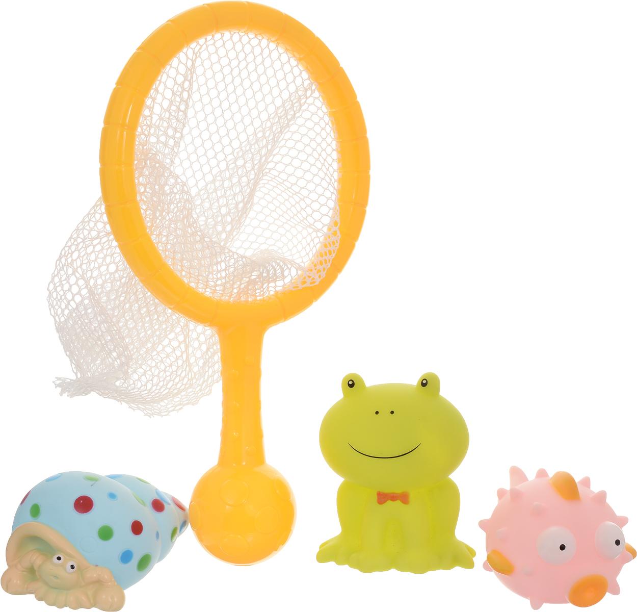 ABtoys Игрушка для ванной Сачок с игрушками Лягушка игрушки для ванны brasco игрушка для ванной крабик с друзьями