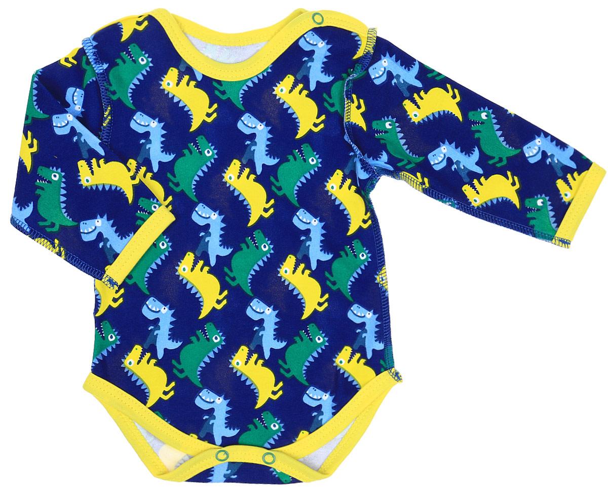 Боди детское КотМарКот Маленький Динозаврик, цвет: темно-синий. 9136. Размер 86 боди и песочники котмаркот боди с длинным рукавом африка