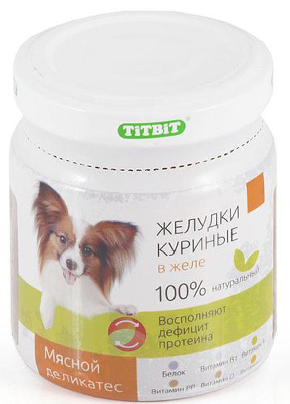 Консервы Titbit для собак, желудки куриные в желе, 100 г
