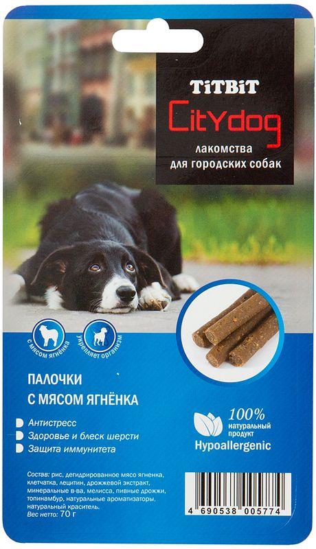Лакомство для собак Titbit City Dog. Палочки, с мясом ягненка, 70 г trend les copains топ без рукавов