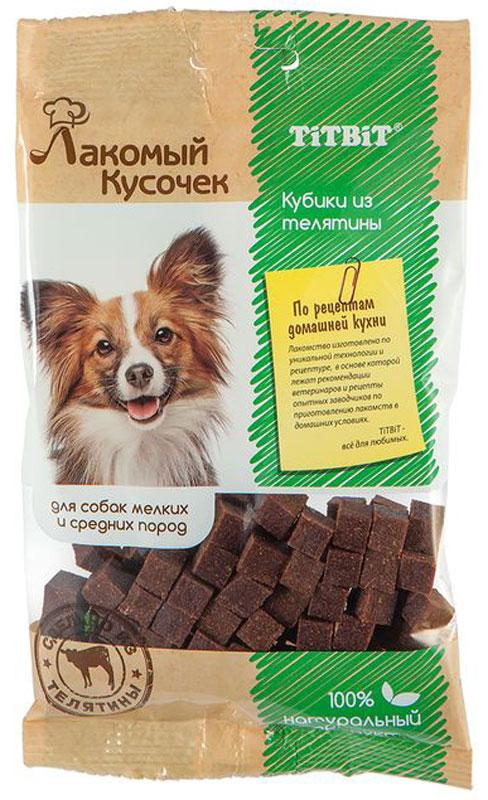 Лакомство Titbit Кубики, для собак, из телятины, 80 г006399Лакомый кусочек - это новая линейка мясных лакомств для собак, которые изготовлены из натуральных ингредиентов по рецептам домашней кухни. Благодаря этому продукция является не только вкусной, но и исключительно полезной.Угостите Лакомым кусочком своего питомца, и он почувствует вашу любовь и заботу, а его реакция на угощение расскажет вам о достоинствах продукта.Состав: телятина, яичный белок, пшеничный зародыш, кориандр, минеральные вещества.