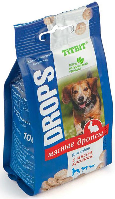 Лакомство Titbit Дропсы, для собак, с мясом кролика, 100 г лакомство для собак titbit мясные сушки с говядиной 100 г