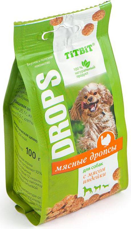 Лакомство Titbit Дропсы, для собак, с мясом индейки, 100 г007839Мясные дропсы для собак Titbit изготовлены из натуральных ингредиентов без консервантов, ароматизаторов и искусственных красителей. Ингредиенты в составе богаты витаминами, минералами, микроэлементами, жирами и легкоусвояемыми протеинами. Дропсы идеально подойдут для дрессуры или вознаграждения вашего питомца.Состав: мясо и мясные субпродукты (не менее 60%, из которых 40% мясо индейки), кукуруза, яичный порошок, морковь, животные жиры, альбумин.Тайная жизнь домашних животных: чем занять собаку, пока вы на работе. Статья OZON Гид