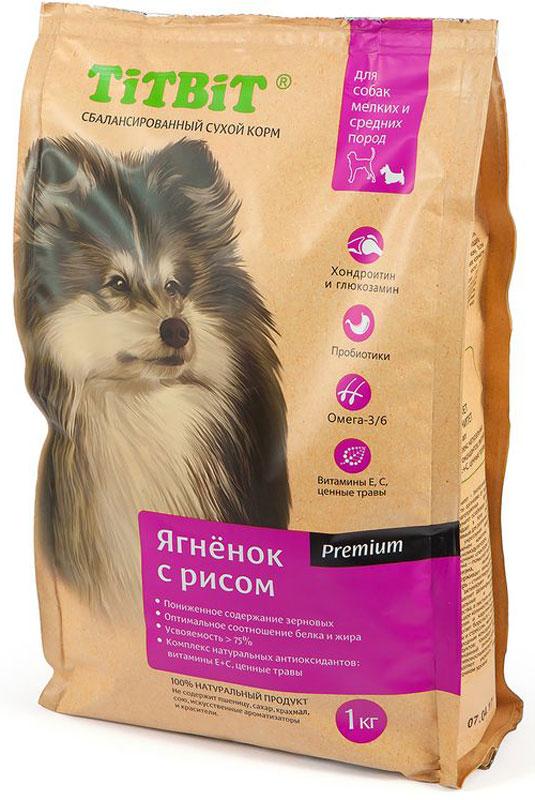 Корм сухой Титбит для собак мелких и средних пород, ягненок с рисом, 1 кг корм сухой титбит для щенков крупных пород ягненок с рисом 3 кг
