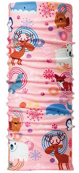 Бандана детская Buff Kids Original Buff Winter Zoo, цвет: розовый. 100959/30183. Размер универсальный100959/30183Buff - это оригинальные, мультифункциональные, бесшовные головные уборы - удобные и комфортные для любого вида активного отдыха и спорта. Оригинальные, потому что Buff был и является первым в мире брендом мультифункциональных, бесшовных и универсальных головных уборов. Мультифункциональные, потому что их можно носить самыми разными способами: как шарф, как шапку, как балаклаву, косынку, бандану, маску, напульсник и многими другими - решает Ваша фантазия! Универсальный головной убор, который можно носить более чем двенадцатью способами, который можно использовать при занятии любым видом спорта, езде на велосипеде и мотоцикле, катаясь или бегая на лыжах, и даже как аксессуар в городской одежде. Бесшовные, благодаря эластичности, позволяющей использовать эти головные уборы как угодно и не беспокоиться о том, что кожа может быть натерта или раздражена швами. Размер (обхват головы): 45-51 см.