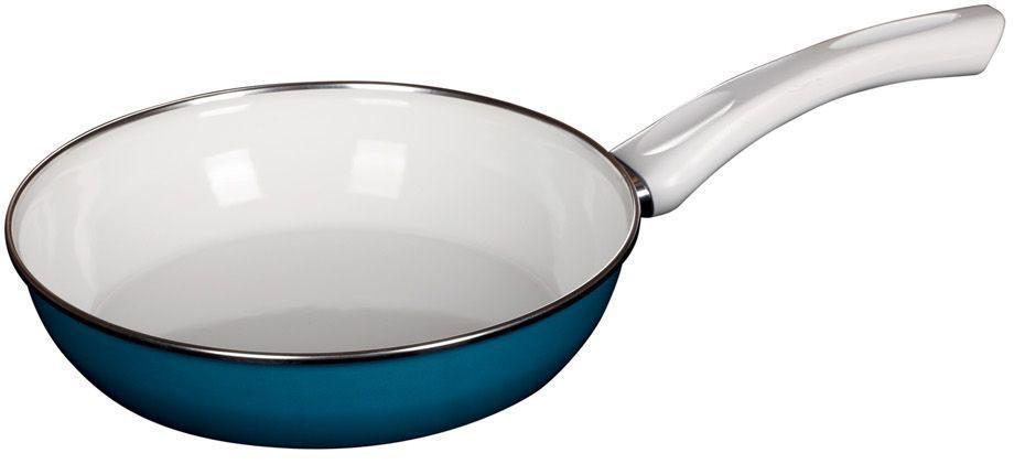 Сковорода Riess Ceraglas-Blau, с эмалевым покрытием. Диаметр 24 см0042-032Торговая марка «Riess» представляет собой эксклюзивную коллекцию стальной посуды, покрытую двумя слоями стекловидной эмали. Производится в Австрии с 1550 года с применением новейших технологий. Высочайшее качество и уникальный дизайн широко известны и высоко оценены покупателями эмалированной посуды во всем мире. Разнообразные расцветки с уникальным декором являются вдохновением к приготовлению пищи и воплощают в жизнь все последние тенденции в декорации кухни и столовой. Благодаря высокой устойчивости к ультрафиолетовому излучению, вы очень долго будете наслаждаться нежными расцветками и блеском эмалированной посуды «Riess». В жаровнях и сковородках можно варить, жарить, тушить. Подходит для всех видов плит, включая индукционную. Также можно использовать в духовке. Легко очищаются: достаточно ненадолго замочить в воде и протереть губкой для мытья посуды с моющим средством.Можно использовать моющие средства и мыть в посудомоечной машине. При уходе за изделием запрещается использовать абразивные материалы. Срок годности не ограничен.