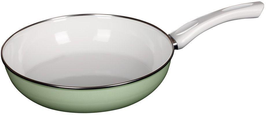 Сковорода Riess Ceraglas-Grun, с эмалевым покрытием. Диаметр 28 см0057-031Торговая марка «Riess» представляет собой эксклюзивную коллекцию стальной посуды, покрытую двумя слоями стекловидной эмали. Производится в Австрии с 1550 года с применением новейших технологий. Высочайшее качество и уникальный дизайн широко известны и высоко оценены покупателями эмалированной посуды во всем мире. Разнообразные расцветки с уникальным декором являются вдохновением к приготовлению пищи и воплощают в жизнь все последние тенденции в декорации кухни и столовой. Благодаря высокой устойчивости к ультрафиолетовому излучению, вы очень долго будете наслаждаться нежными расцветками и блеском эмалированной посуды «Riess». В жаровнях и сковородках можно варить, жарить, тушить. Подходит для всех видов плит, включая индукционную. Также можно использовать в духовке. Легко очищаются: достаточно ненадолго замочить в воде и протереть губкой для мытья посуды с моющим средством.Можно использовать моющие средства и мыть в посудомоечной машине. При уходе за изделием запрещается использовать абразивные материалы. Срок годности не ограничен.
