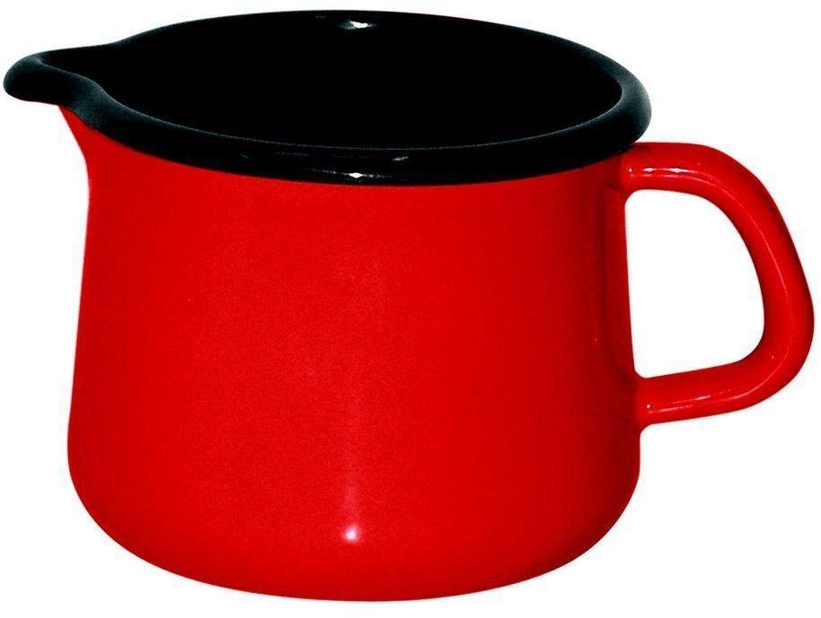 Кружка Riess Fresh Tomato, 750 мл0671-064Торговая марка «Riess» представляет собой эксклюзивную коллекцию стальной посуды, покрытую двумя слоями стекловидной эмали. Производится в Австрии с 1550 года с применением новейших технологий. Высочайшее качество и уникальный дизайн широко известны и высоко оценены покупателями эмалированной посуды во всем мире. Разнообразные расцветки с уникальным декором являются вдохновением к приготовлению пищи и воплощают в жизнь все последние тенденции в декорации кухни и столовой. Благодаря высокой устойчивости к ультрафиолетовому излучению, вы очень долго будете наслаждаться нежными расцветками и блеском эмалированной посуды «Riess». В жаровнях и сковородках можно варить, жарить, тушить. Подходит для всех видов плит, включая индукционную. Также можно использовать в духовке. Легко очищаются: достаточно ненадолго замочить в воде и протереть губкой для мытья посуды с моющим средством.Можно использовать моющие средства и мыть в посудомоечной машине. При уходе за изделием запрещается использовать абразивные материалы. Срок годности не ограничен.