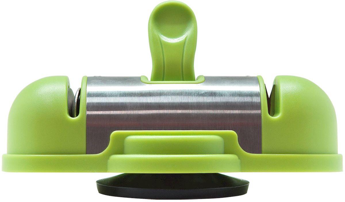 Ножеточка Borner, двухзонная, цвет: салатовый862166Двухзонная ножеточка с вакуумным креплением к столу позволит вам профессионально поточить любой металлический нож от кухонного до туристического. Преимущества ножеточки: - ножеточка легко устанавливается на любой гладкой поверхности; - приспособление для заточки ножей позволяет затачивать лезвие ножа обеими руками; - благодаря 2-м зонам заточки Победит и Алмаз, ножеточка подходит как для заточки сильно поврежденных и тупых ножей, так и для поддержания остроты ножей, которым требуется доводка или легкая заточка; - угол заточки 26 градусов. Профессионально, идеально, быстро - одно движение и лезвие идеально заточено.