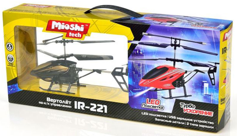 Mioshi Вертолет на радиоуправлении Tech IR-221 цвет черный - Радиоуправляемые игрушки