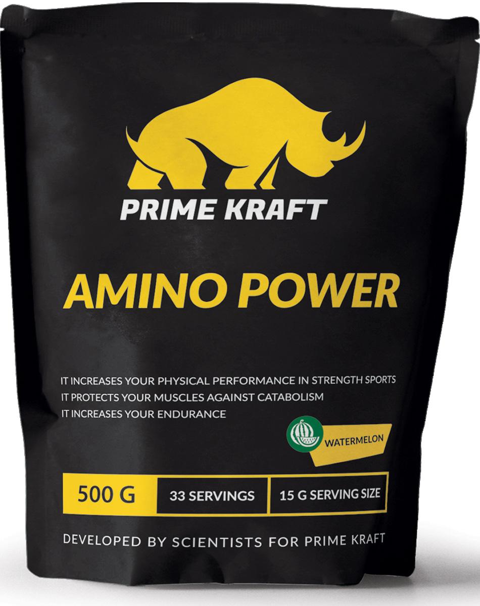 Напиток сухой Prime Kraft Amino Power, коктейль фруктово-ягодный, арбуз, 500 г протеин prime kraft whey клубника банан