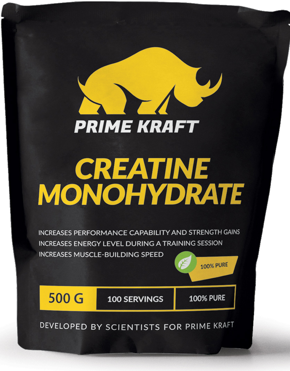 Напиток сухой Prime Kraft Creatine Monohydrate 100%, коктейль фруктово-ягодный, чистый, 500 г протеин prime kraft whey клубника банан