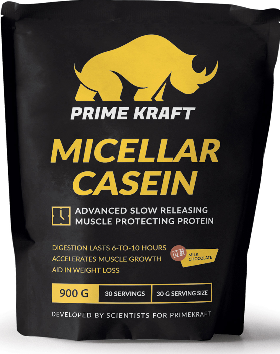 Напиток сухой Prime Kraft Micellar Casein, коктейль белково-витаминный, молочный шоколад, 900 г протеин prime kraft whey клубника банан